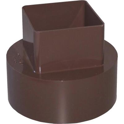 Genova RainGo 4 In. Brown Downspout Adapter