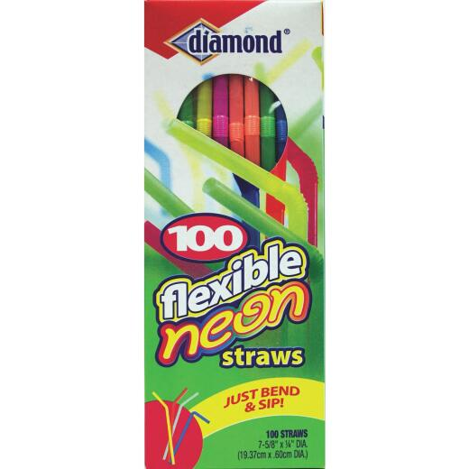Diamond Flexible Neon Straw (100-Count)